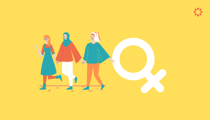 A graphic of three women holding the symbol for women
